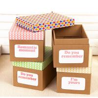 (圆点)畸良DIY彩色牛皮纸收纳盒办公牛皮纸桌面收纳盒资料 鞋子储物盒 杂物收纳箱整理盒