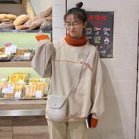 卫衣 女士假两件高领加绒加厚套头衫2019秋冬新款学生韩版宽松女式休闲卫衣长袖外套