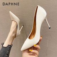 达芙妮职业高跟鞋女2020年春季新款百搭气质漆皮尖头细跟单鞋