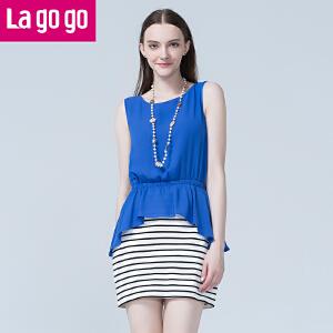 lagogo拉谷谷秋季新款拼接条纹时尚收腰洋装