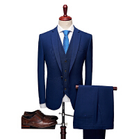 新款纯色3件套西服套装黑色 蓝色韩版修身货号1706 三件套qt2005