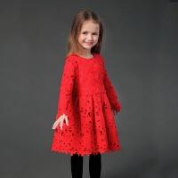 女童连衣裙冬装长袖红色连衣裙儿童宝宝水溶雷丝裙母女装亲子装裙