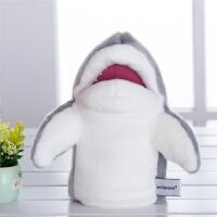 宝宝早教安抚毛绒玩具嘴巴能动鲨鱼海洋动物手偶娃娃手套玩偶