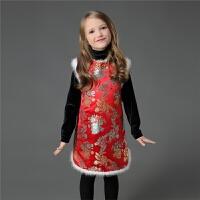 2018冬季女童夹棉加厚旗袍貂毛中小大儿童马甲裙宝宝唐装拜新年装