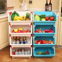 普润 镂空爱心加厚塑料厨房置物架一只装 果蔬筐篮水果蔬菜收纳储物箱白色