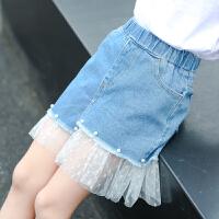女童半身裙夏装童装牛仔裙中大童女孩时髦蕾丝边短裙