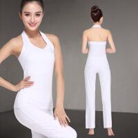 白色套�b女夏季背心修身�@瘦莫代���棉健身服舞蹈服表演服 白色�觳弊犹籽b S