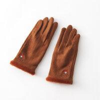 薄触屏保暖手套女秋冬季可爱小熊单层开车女士手套秋冬季款
