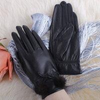 皮草秋天冬季保暖短薄款骑开车式水貂球女士山羊皮手套