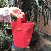 日韩休闲慵懒手拎包2017新款手提包水桶小包帆布环保便当袋饭盒袋