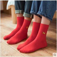五双本命年红袜子女男属狗年结婚纯棉情侣秋冬款中筒袜踩小人长袜