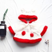 冬季女宝宝小童单排扣连帽夹棉毛毛衣过年装儿童外套上衣