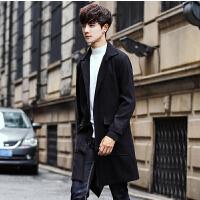 男士风衣外套2018春季新品男学生帅气韩版修身中长款潮流大衣春装