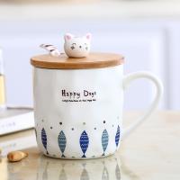 创意简约个性猫咪马克陶瓷杯子可爱卡通带盖勺咖啡牛奶水杯情侣杯