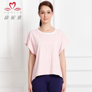 康妮雅夏季新款女装 女士棉质蝙蝠袖短袖T恤上衣薄款