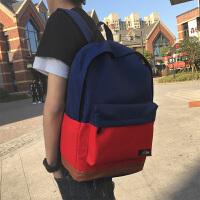 港风街头潮流包大学生书包男士双肩背包旅行撞色青年纯色书包SN5201