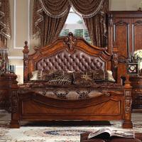 床卧室时尚美式实木双人床 家具欧式床新婚床皮床1.8 2 2.2米大床加宽简约单双人 其他