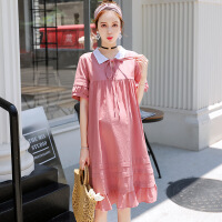 棉麻翻领孕妇连衣裙夏季韩版孕妇装新品纯色中长款孕妇裙子B-8060