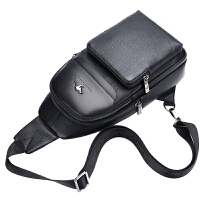 2018新款袋鼠胸包男士包包真皮单肩包斜挎包男潮牛皮休闲软皮背包 黑色【带手包】