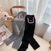 女童打底裤春秋外穿小女孩灰色紧身儿童春季黑色裤子