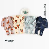 韩国童装男女小童长袖宝宝保暖内衣套装婴幼儿卡通印花家居服