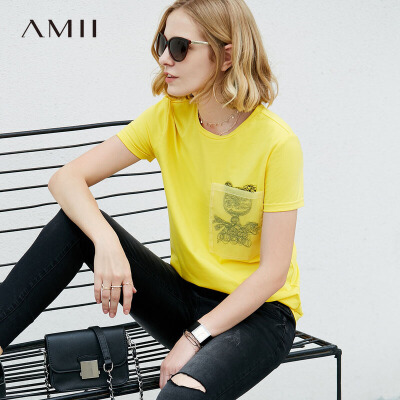 AMII极简原宿港味口袋短袖T恤女2018夏新修身棉质刺绣基础上衣.