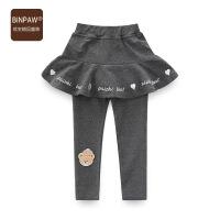binpaw童装女童裙裤2018秋季新款韩版修身洋气打底裤带裙边女长裤
