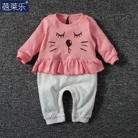 婴儿连体衣服宝宝新生儿季0岁3个月季6满月春装1季长袖新年