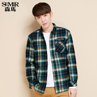 森马加绒长袖衬衫男士学生青年方领格纹加厚保暖衬衣韩版潮流