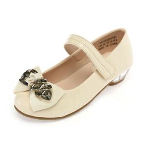 Shoebox鞋柜 透明水晶跟蝴蝶结珠花甜美童鞋皮鞋