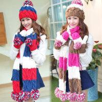 三件套装一体围脖女冬季韩版毛线帽加厚圣诞生日礼物帽子围巾手套