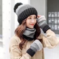 新款女士加绒保暖针织帽 韩版百搭毛线帽子 拼色帽子女加厚围脖一体潮