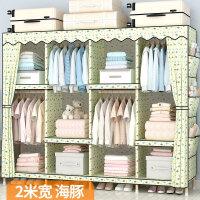 衣柜简易布衣柜实木布艺组装简约现代经济型钢管加粗加固加厚双人