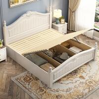 美式家具18米现代简约主卧室经济型双人实木床15田园风白色婚床 1800mm*2000mm 箱框结构