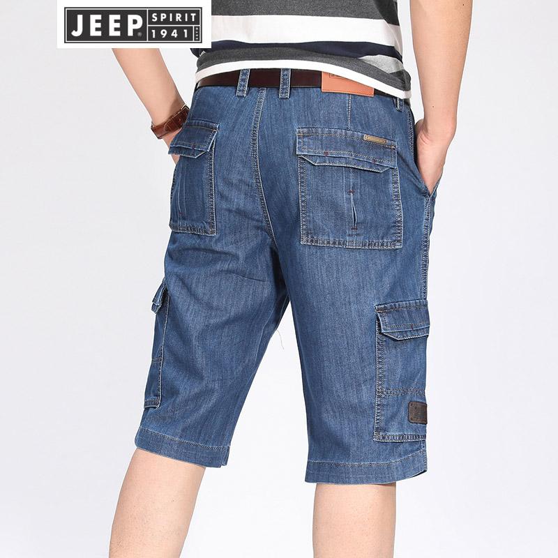 吉普JEEP牛仔裤多袋裤男夏季薄款七分裤男士宽松直筒工装短裤男装宽松大码休闲牛仔中裤吉普出品,价格贴心,选到就赚到