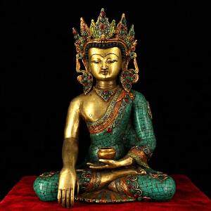 纯铜纯手工打造镶嵌宝石彩绘释迦摩尼佛祖一尊