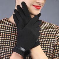 女士手套加绒保暖厚可爱貂毛球韩版优雅开车骑车触屏户外手套