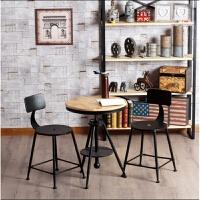 欧美式铁艺实木咖啡厅甜品店复古桌椅 阳台户外酒吧休闲椅子ll