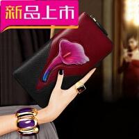 女士钱包长款2018新款韩版时尚手包百搭气质钱夹卡包个性皮夹子女
