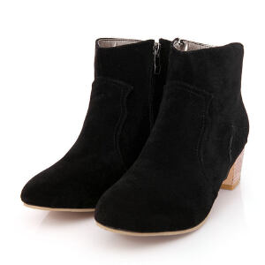 ELEISE美国艾蕾莎新品秋冬188-658韩版磨砂绒面粗跟中高跟女士短靴