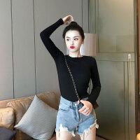 T恤 女士圆领韩版套头衫2019秋季新款牛油果绿长袖打底衫女时尚气质修身T恤上衣