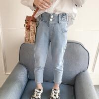 女童牛仔裤春秋洋气时髦高腰紧身小脚长裤儿童裤子