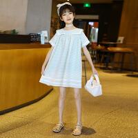 女童连衣裙夏装夏季中大儿童格子短袖裙子