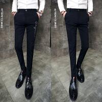 型男英伦刺绣修身休闲裤时尚免烫弹力小脚裤靴裤男士发型师工作服