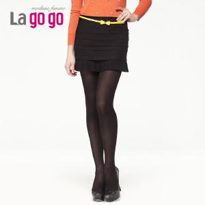 lagogo拉谷谷春季新款百搭层叠抽褶下摆短裙