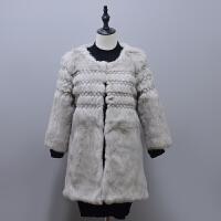 2018年秋冬新款亲子装母女装金线刺绣真兔毛皮草中长款外套气质T3