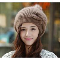 韩版女士蝴蝶结可爱款保暖毛线帽 兔毛 加绒加厚 护耳针织帽
