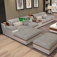 欧式布艺沙发藤板冬夏两用大小户型组合客厅整装家具新款皮布沙发