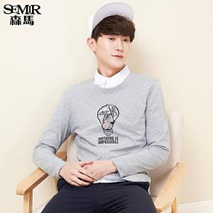森马长袖T恤男休闲舒适印花男士体恤青年韩版学生圆领上衣潮纯棉