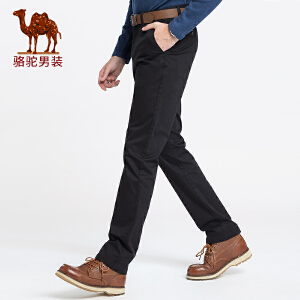 骆驼男装 2018秋季新款青年时尚纯色中腰直筒弹力韩版休闲长裤男